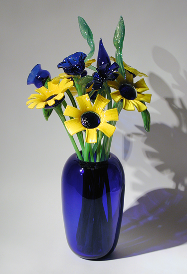 Cobalt Vase with Sunflowers - Art Glass Vase and Flowers - by David Van Noppen