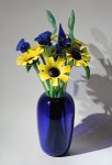 Art Glass Vase and Flowers by David Van Noppen