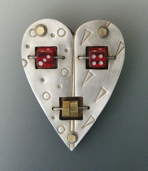 Lucky in Love Brooch - Mixed Media Brooch - by Thomas Mann