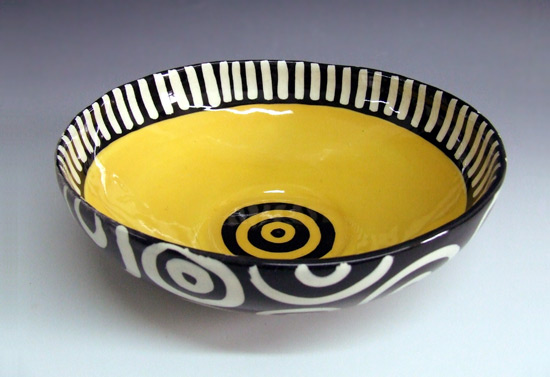 Yellow Bullseye Round Bowl - Ceramic Bowl - by Matthew A. Yanchuk