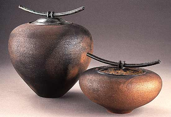 Smoke-Fired Vessels Series 2 - Ceramic Jars - by Carol Green