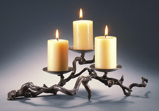 Three-Candle Candleholder #2 - Bronze Candleholder - by Carol Green