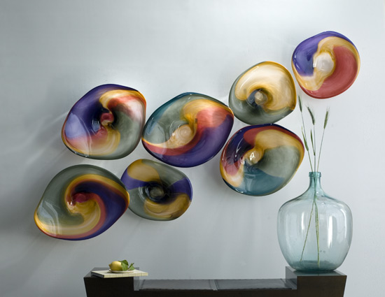 Point Reyes Landscape- 7 Series - Blown Glass Discs - by Janet Nicholson and Rick Nicholson