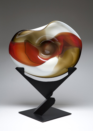 Wave Bowl: Red, Dark Topaz, & Bone with Uplift Stand - Art Glass Bowl - by Janet Nicholson and Rick Nicholson