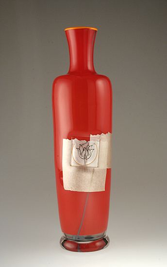 Lotus Vase: Red - Art Glass Vase - by Richard S. Jones