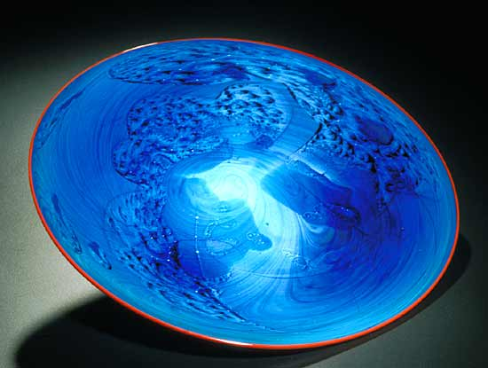 Blue New Mexico Platter - Art Glass Platter - by Josh Simpson