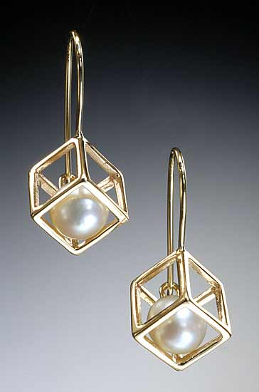 Cage Cubed Earrings - Gold or Silver & Pearl Earrings - by Patricia Madeja