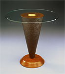 Mahogany table with glass top by David Kiernan