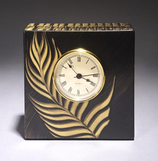 Brazil Table Clock - Painted Wood Clock - by Daniel Grant and Ingela Noren