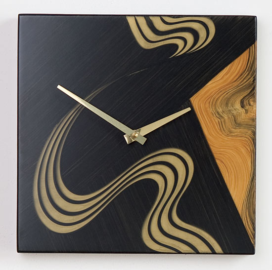 Kyoto Square Wall Clock - Painted Wood Clock - by Daniel Grant and Ingela Noren