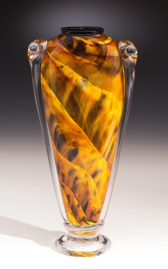 Amber Shoulder Vase - Art Glass Vase - by Mark Rosenbaum