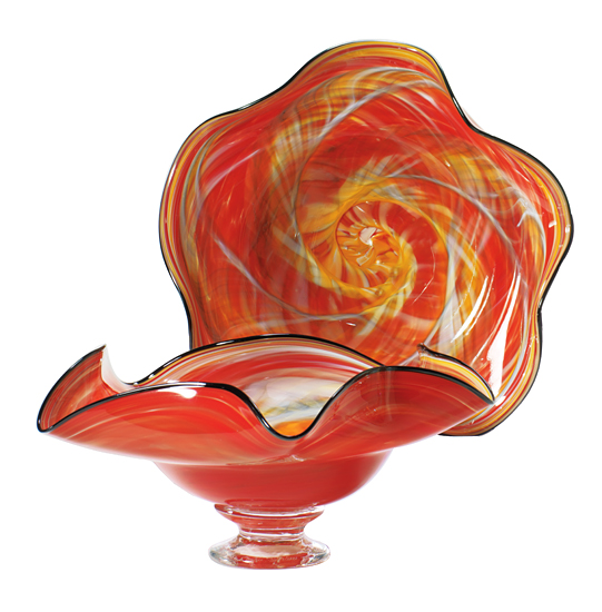 Red Wavy Bowl - Art Glass Bowl - by Mark Rosenbaum