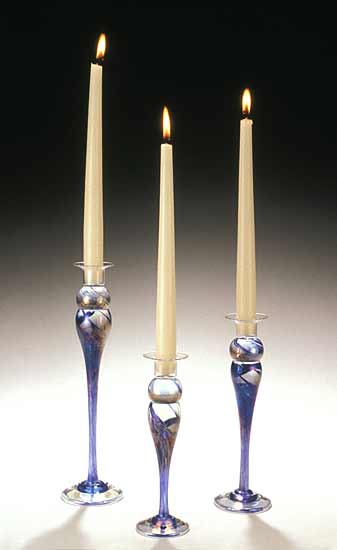Blue Trio Candlesticks - Art Glass Candleholders - by Mark Rosenbaum