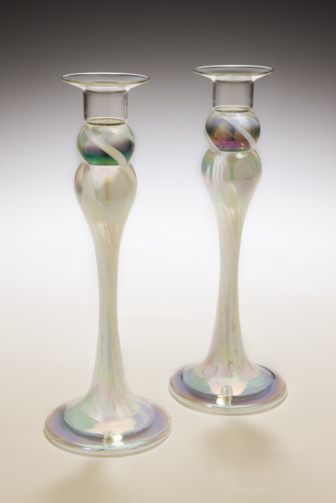 Ivory Candlestick Pair - Art Glass Candlesticks - by Mark Rosenbaum