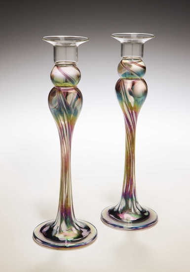 Mardi Gras Candlestick Pair - Art Glass Candlesticks - by Mark Rosenbaum