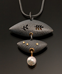 Silver, Gold & Pearl Pendant by Barbara Bayne