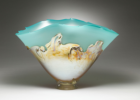 Turquoise with Yellow Iris Overlay - Art Glass Vessel - by Dierk Van Keppel