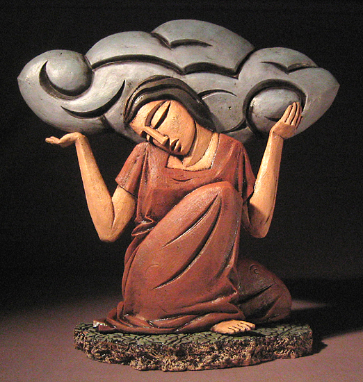 Woman With Cloud - Ceramic Sculpture - by Steve Gardner