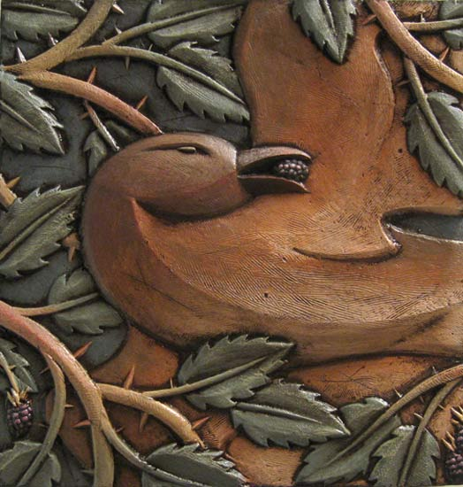 Bird in Thorns - Ceramic Wall Art - by Steve Gardner