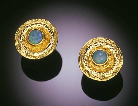 Domed Opal Earrings - Gold & Stone Earrings - by Louise Norrell