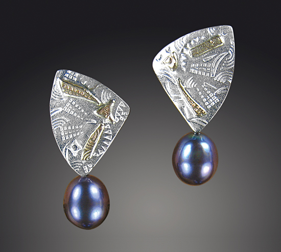 Triangles & Pearls - Silver & Pearl Earrings - by Louise Norrell
