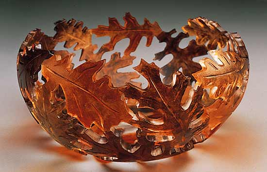 Fall Oak Bowl - Art Glass Bowl - by Ann Alderson Biba