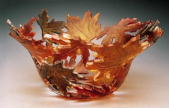 Maple Leaf Bowl - Art Glass Bowl - by Ann Alderson Biba