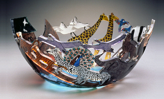Noah's Ark - Art Glass Bowl - by Ann Alderson Biba
