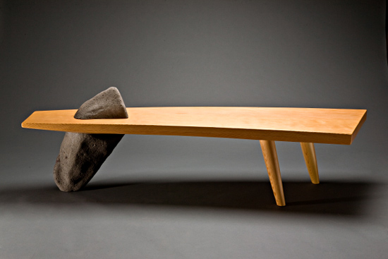 Gibraltar Bench - Wood & Stone Bench - by Seth Rolland
