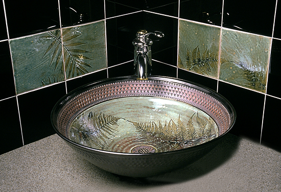 Fern Sink - Ceramic Sink - by Suzanne Crane