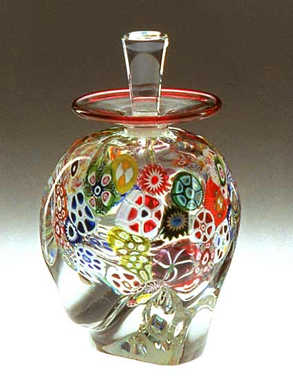 Multi-Murrini Perfume Bottle - Art Glass Perfume Bottle - by Mary Mullaney and Ralph Mossman