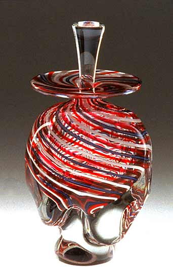 Striped Perfume Bottle - Art Glass Perfume Bottle - by Mary Mullaney and Ralph Mossman
