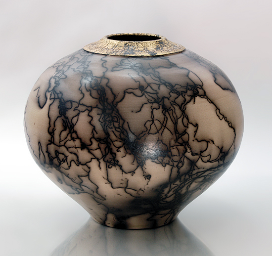 Burnished Horsehair 65 - Ceramic Vessel - by Ron Mello