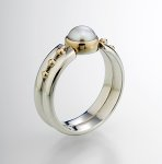Silver & Pearl Ring by Linda Smith