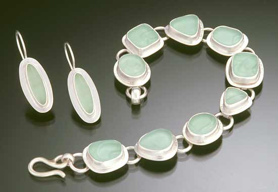 Bracelet & Earrings - Silver & Glass Earrings & Bracelet - by Amy Faust