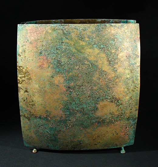 Large Square Vase - Metal Vessel - by David M Bowman and Reed C Bowman