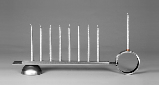 Modern Menorah - Steel and Copper Menorah - by Julie Girardini and Ken Girardini