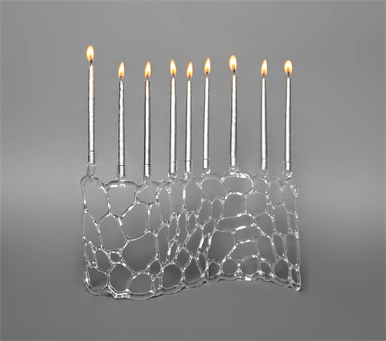 Abstract Menorah - Art Glass Menorah - by Bandhu Scott Dunham