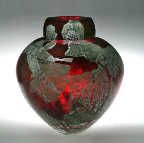 Gold Ruby Emperor Bowl - Art Glass Vase - by Randi Solin