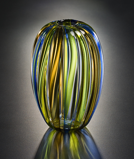 Barrel Vase: Light Blue & Green - Art Glass Vase - by Tracy Glover