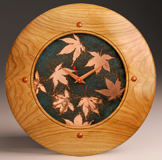 Falling Leaves Wall Clock - Wood Clock - by Peter F. Dellert