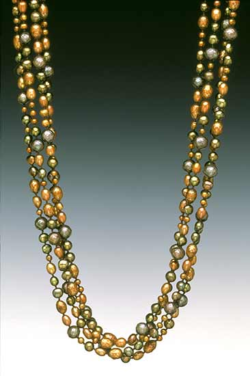Autumnal Glow - Pearl Necklace - by Diana Lovett