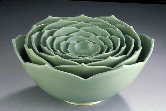 Eight Nesting Lotus Bowls - Ceramic Sculptural Bowls - by Whitney Smith