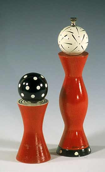 Red Grinder & Shaker - Wood Pepper Mill & Salt Shaker - by Robert Wilhelm