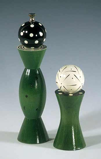 Green Grinder & Shaker - Wood Pepper Mill & Salt Shaker - by Robert Wilhelm