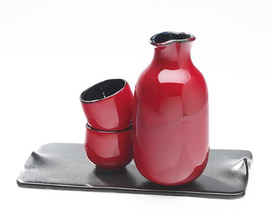 Dragon Red Sake Set on Tray - Ceramic Sake Set - by Judith Weber