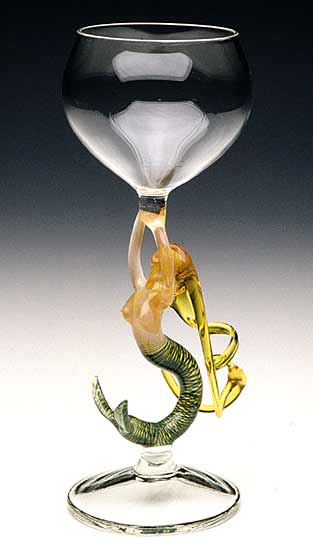 Mermaid Ascending (Blonde Goblet) - Art Glass Goblet - by Milon Townsend