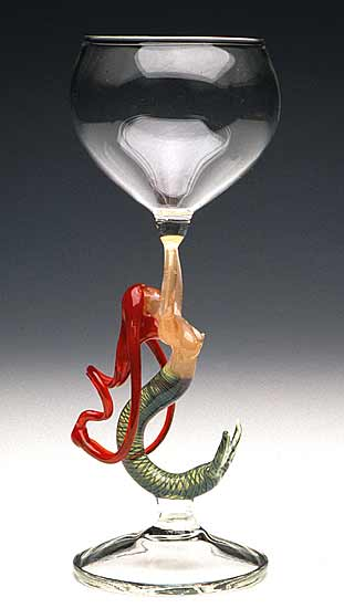Mermaid Ascending (Redhead Goblet) - Art Glass Goblet - by Milon Townsend