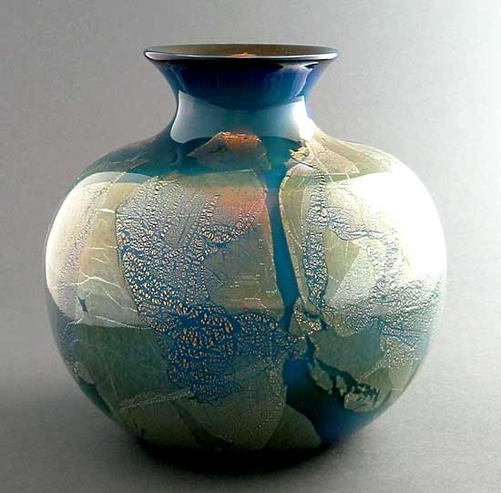 SilverBlu Spittoon - Art Glass Vase - by Suzanne Guttman