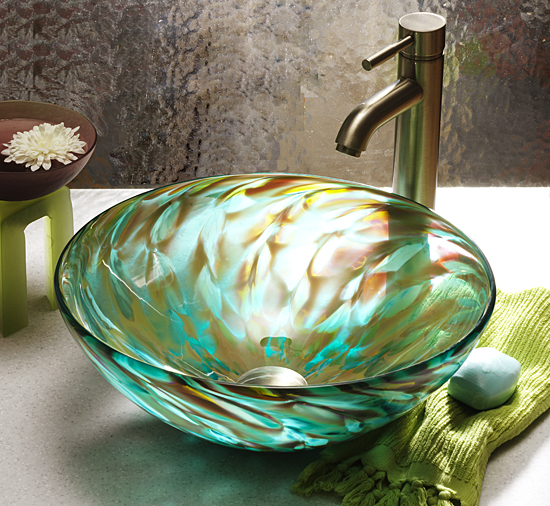 Aqua Iris - Art Glass Sink - by Suzanne Guttman